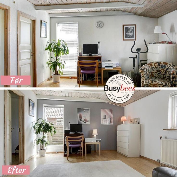 Home office home staging before and after
