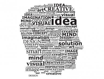 Creatief hoofd van woorden
