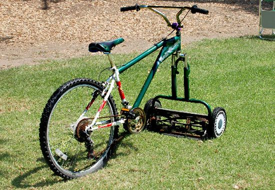 Yes! The Mowercycle! The new redneck method of both doing your chores and working out!