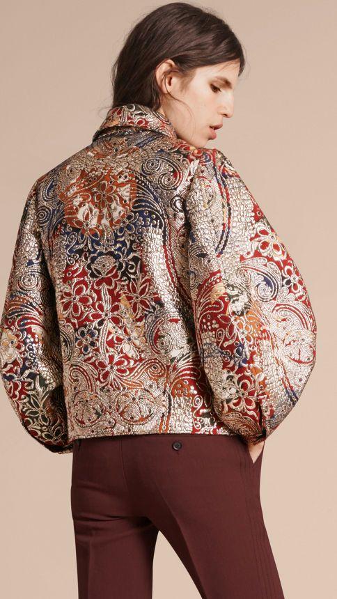 Russet brown Metallic Floral Jacquard Sculptured Sleeve Shirt - Image 3
