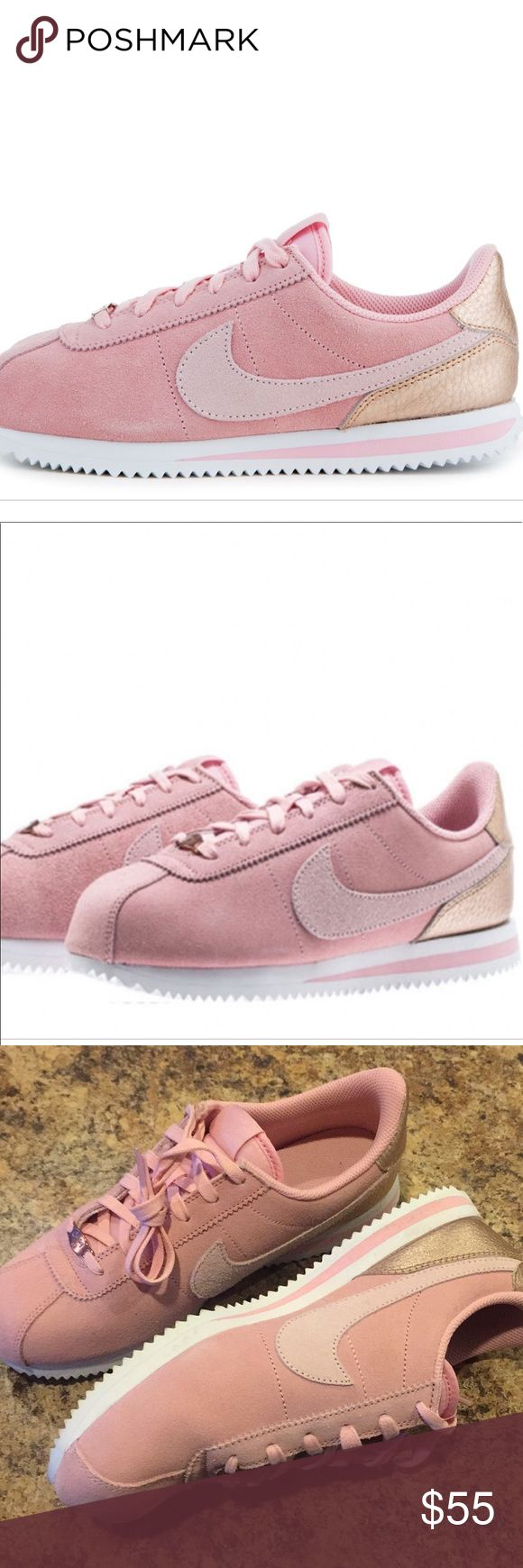 Nike Cortez Baby Pink Suede/Rose Gold! 7Y/8.5WNS This is a pair of Bike Cortez in baby pink suede and rose gold detail. These have been worn once! There is a scuff on the toe as seen in the pics. Super cute color and super comfy! Size 7Y or 8.5 Women. No box. Nike Shoes Sneakers