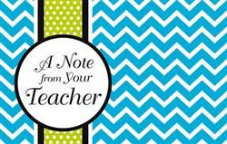 Isabella Note From Your Teacher Postcards - Isabella's trendy patterns and cute colors embellish everything necessary to transform your #classroom into a chic learning environment. With coordinating accessories and #school day essentials, you can create a classroom that's both pretty and practical to get the best of both worlds! #teachers