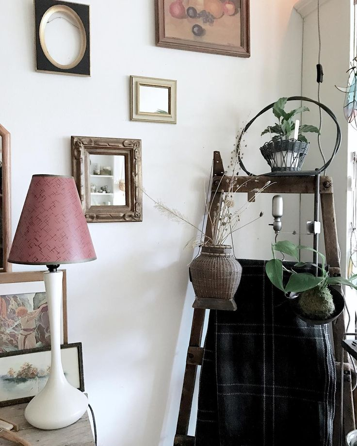 Wall mirrors $38 and $28 Gilt oval frame $28 Mcm lamp with atomic shade $75  Primitive ladder $75  Japanese basket $42 Industrial mcm task/spot clamp lamp $42 Extra Large worn brass ladle $38 Beautifully woven wool camp blanket $65