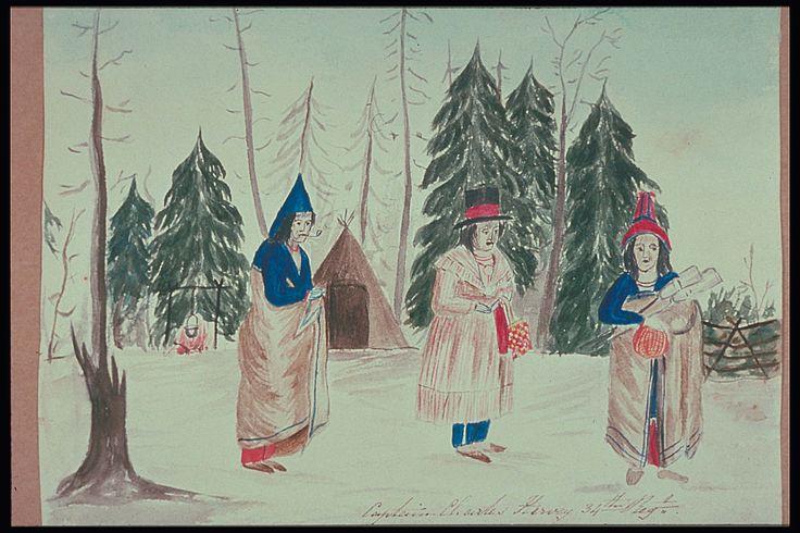 Painting entitled Three Mi'kmaq Women, New Brunswick