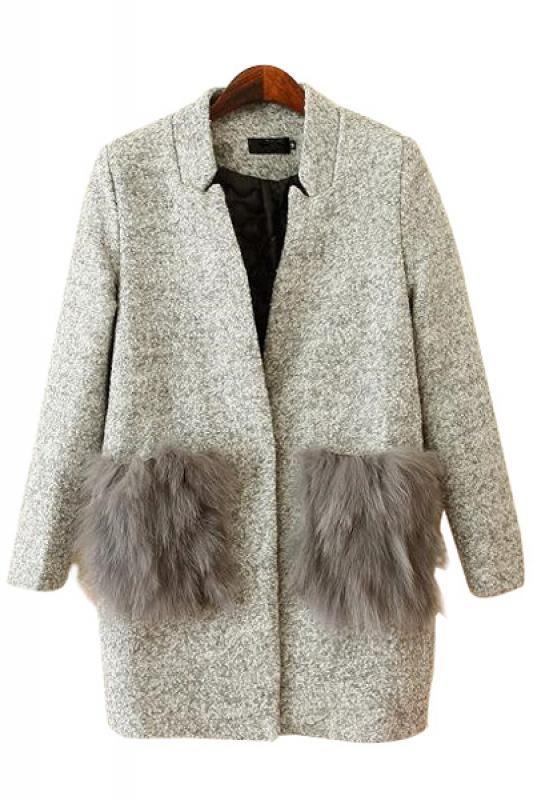 Fur Pockets Long Sleeve Cotton-Padded Tweed Winter Coat #fauxfur #winterpicks #rocksfashionbug