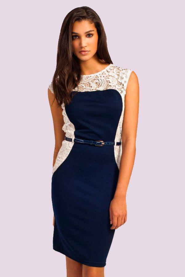 Modro biele elastické krajkové šaty
