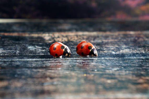 ladybug earrings  ladybug jewelry  red ladybug earrings