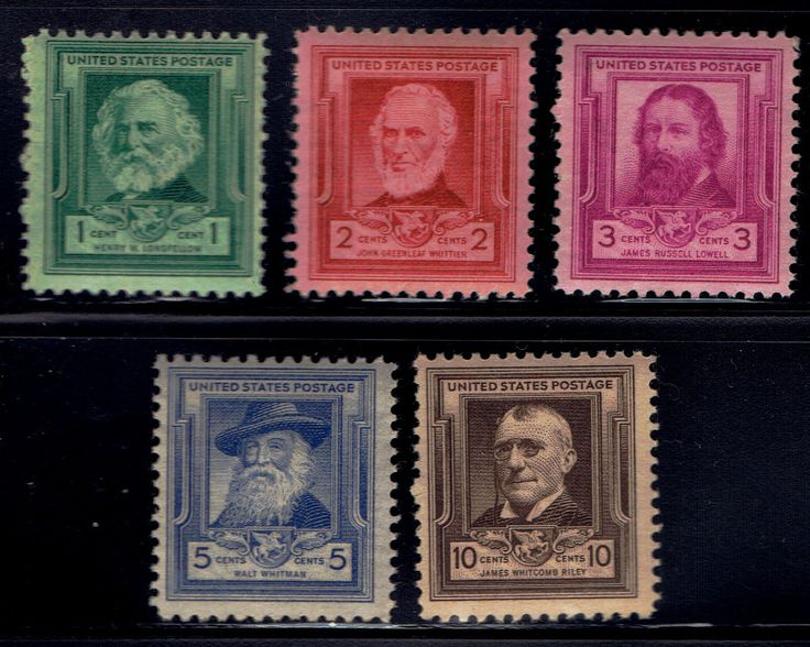 US 1940 Feb 16 Famous American Poets Scott's 864-868 set of (5) MNH lot us864-1 by VicsStamps on Etsy