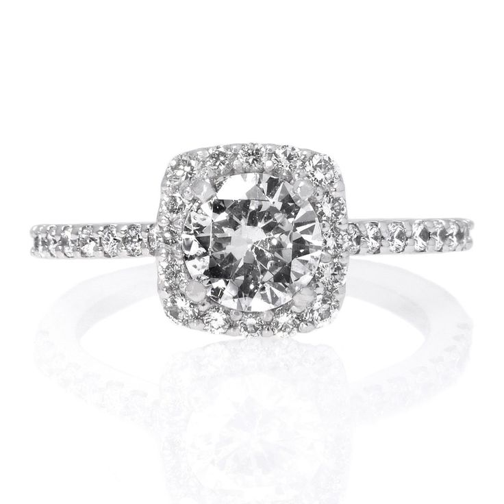 Platinum Square Halo French-Set Diamond Band Engagement Ring by Ritani