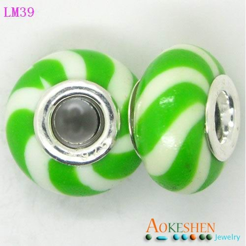 10x15mm Bright Green Hand Painting 925 Sterling Silver Core Porcelain European Beads Fit Bracelet
