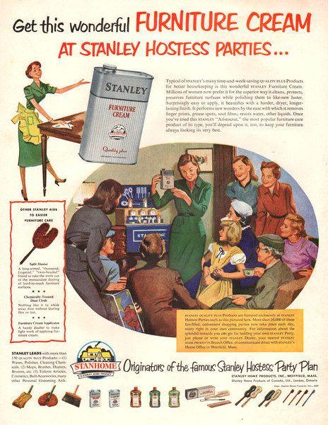 1952 Stanley Hostess Party Plan vintage print ad by Vividiom, $9.00