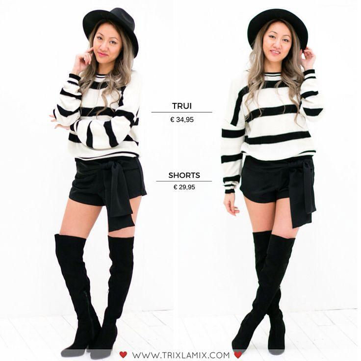 Jouw wardrobe is deze lente niet compleet zonder gestreepte items zoals deze cozy trui! Combineer met de Zwarte Wikkelshort + hoge suède laarzen voor een sassy but classy look   .  Shop op www.trixlamix.com   #trixlamix #new #sweater #boho #stripes #fashion #style #outfit #ootd #girl #musthave #love #pictureoftheday #picoftheday #instagood