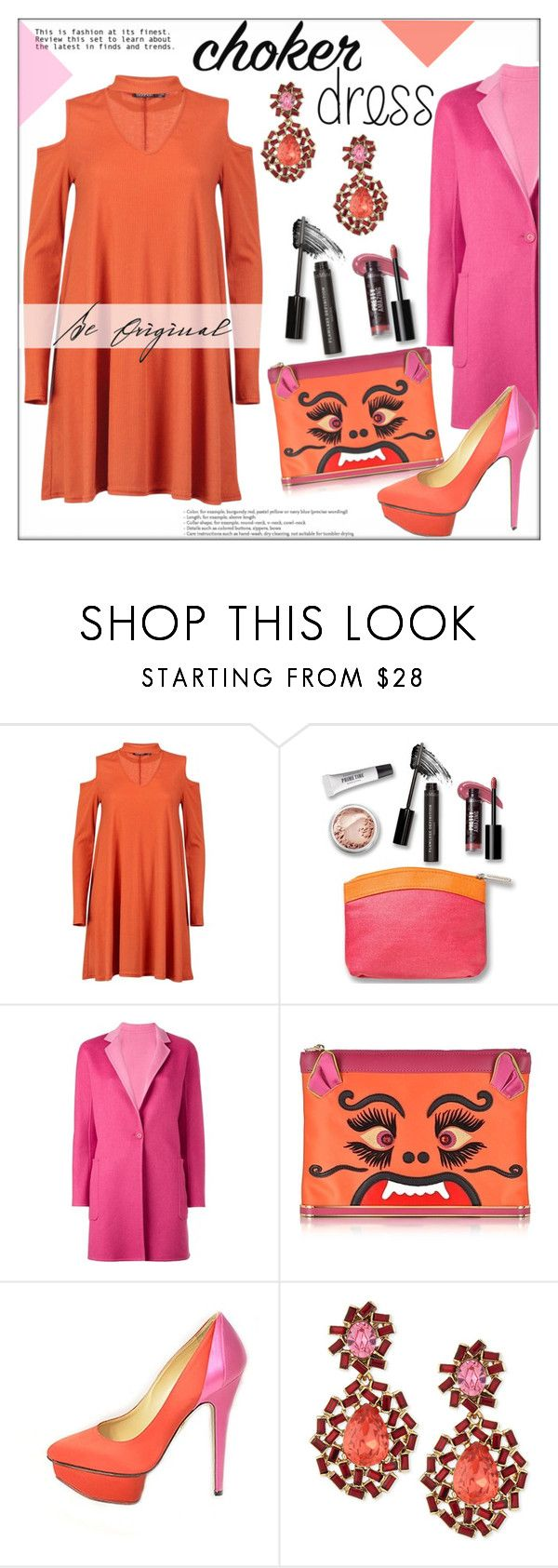 """Choker Dress"" by pat912 ❤ liked on Polyvore featuring Boohoo, Bare Escentuals, MaxMara, Charlotte Olympia, Oscar de la Renta, polyvoreeditorial and chokerdress"