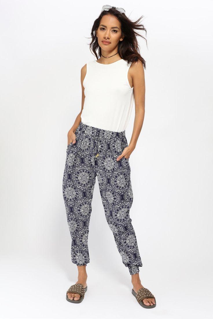 Navy Print Hareem Trousers