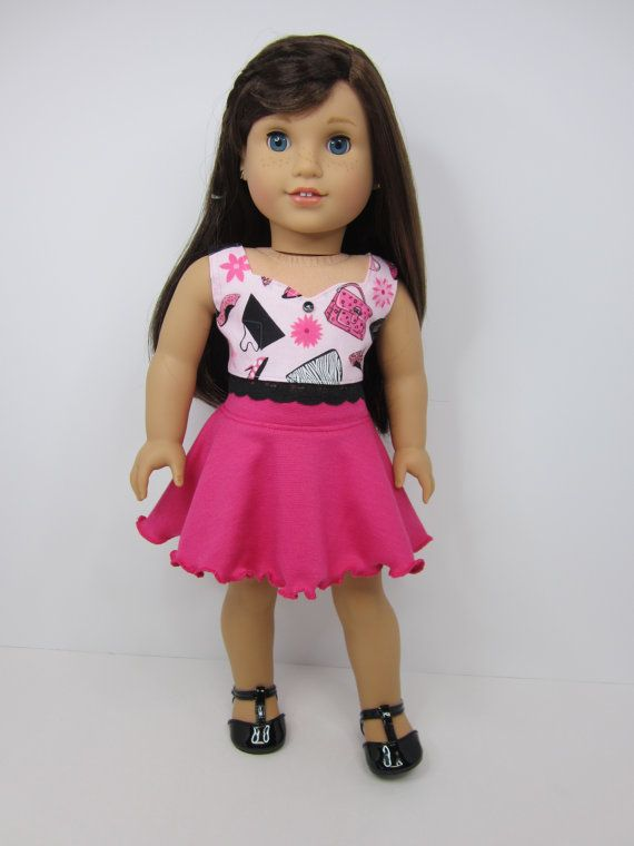 American Girl doll clothes- 2 pc-  Bright pink  skater skirt and pretty  crop top with lace hemline.