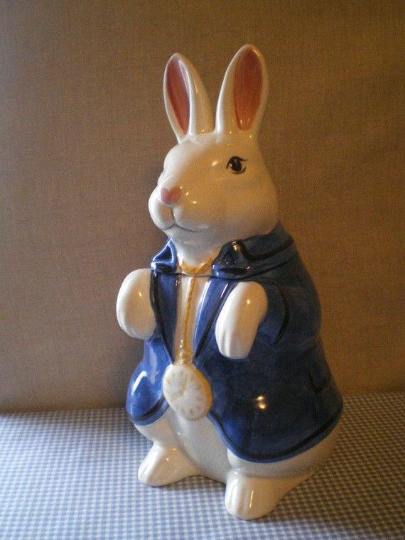 bunny cookie jars | Alice in Wonderland White Rabbit cookie jar