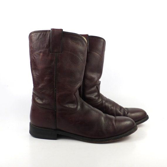 Justin Roper Boots Vintage 1980s Distressed by purevintageclothing