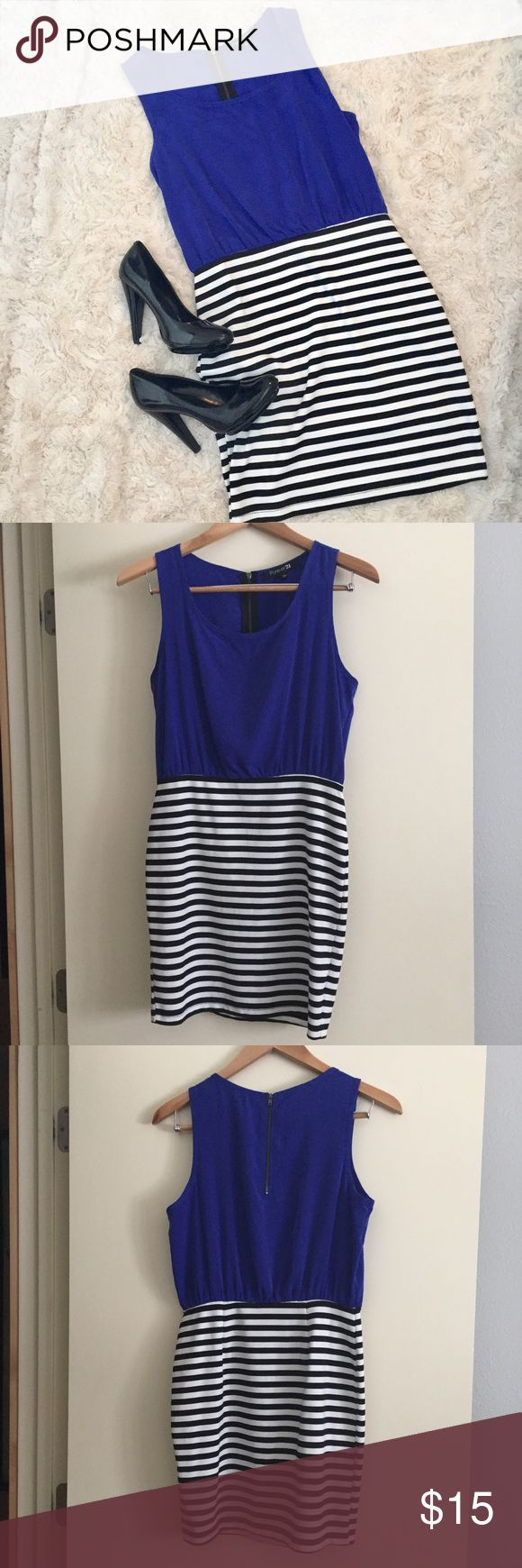 💋Forever 21 Blue Striped Bodycon Dress, Size M 💋Forever 21 Blue Striped Bodycon Dress, Size Medium.  Top is a royal blue chiffon, bottom is a black and white jersey knit.  Super cute dress, perfect for a night out! Dress is in excellent condition, no flaws!  (Black pumps also available in my closet 😊) Forever 21 Dresses Mini