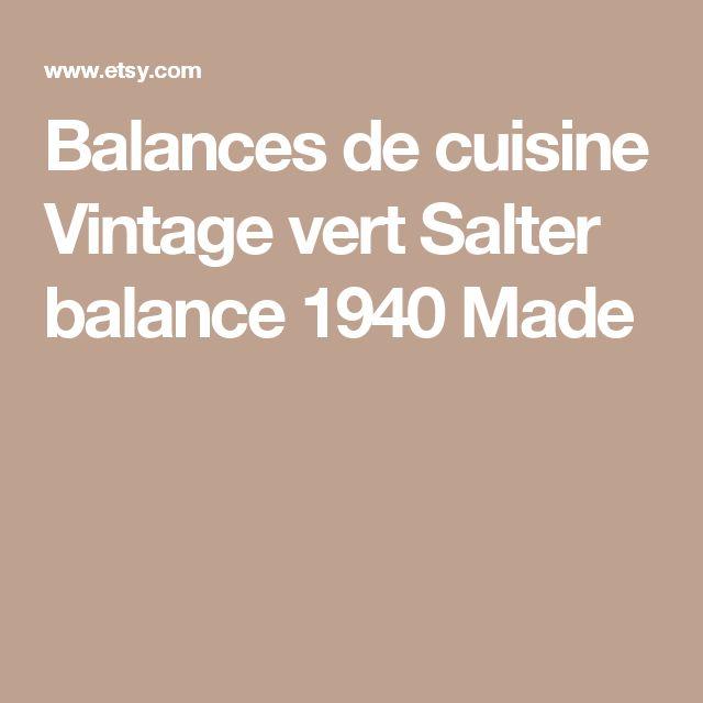 Balances de cuisine Vintage vert Salter balance 1940 Made