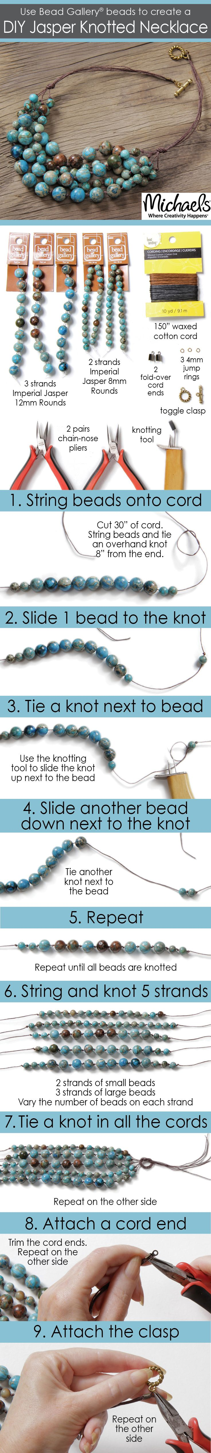 Use Bead Gallery beads available at your local Michaels Store to create a DIY Jasper Knotted Necklace