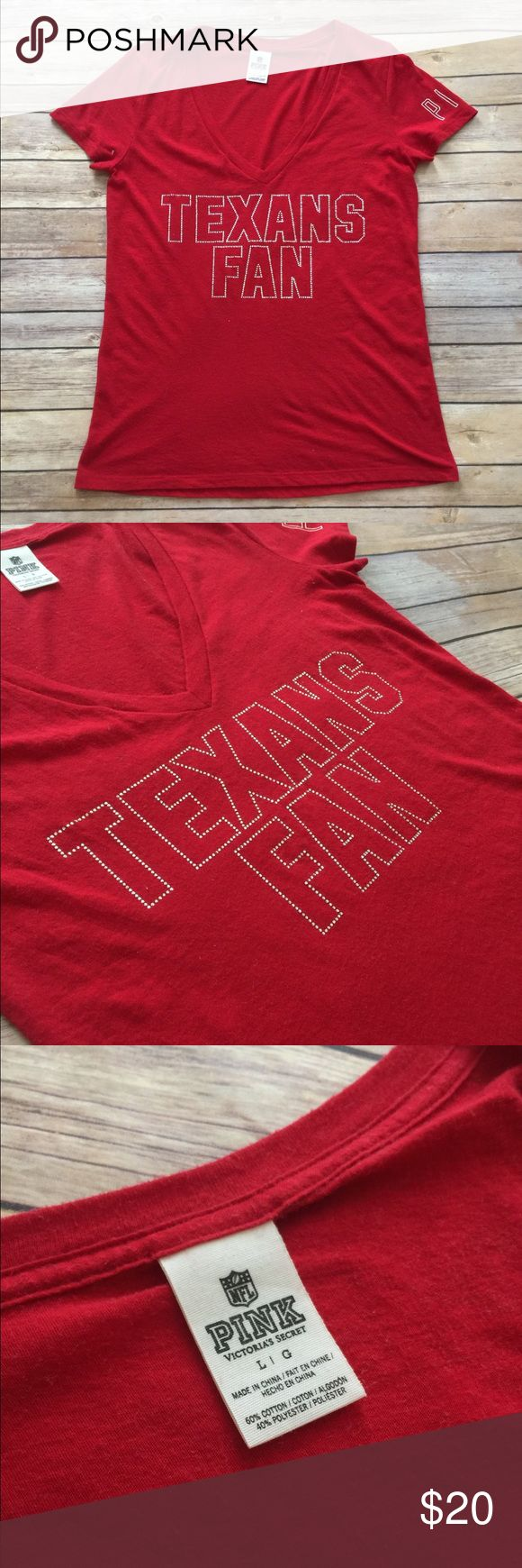 VS PINK Houston Texans Tee EUC. Size large, fitted. TTS. Tops Tees - Short Sleeve