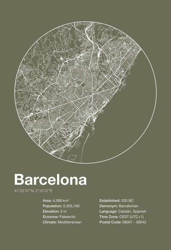 Street Map Art City Print - Barcelona, Spain - Minimalist Map of Barcelona…