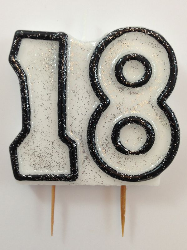 Black Number Candle 18. Click here http://www.icingonthecakekits.com/category_26/Candle-Bling.htm $2.95