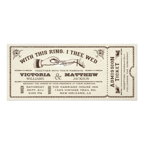 Steampunk Wedding Invitations With This Ring, Vintage Wedding Ticket Invitation
