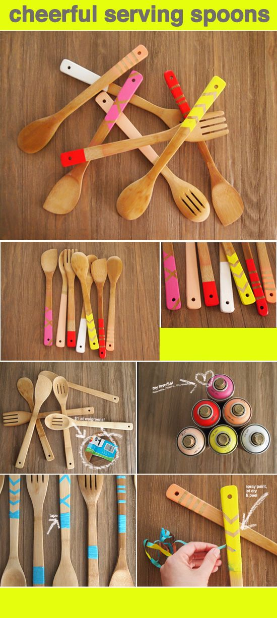 DIY colourful wooden spoons.