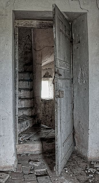 i would be terrified to explore this, but I like how the door opens to a room AND a tricky stairway.
