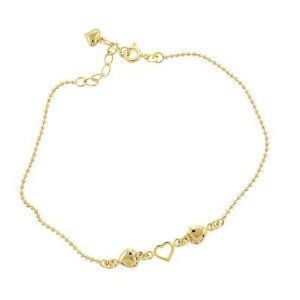 Caribe Gold 14k Gold over Silver 9 inches Heart Anklet Evalue Jewelry. $41.99