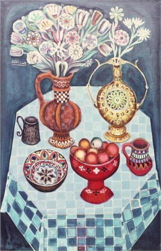 Still Life with Red Apples - Radi Nedelchev (1938-2007)-Bulgarian