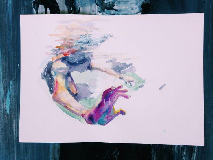 """""""Underwater"""" watercolor,paper a3 #water #surf #surfart #watercolor #underwater #art"""