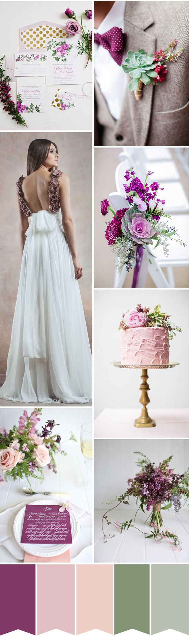 Shades of purple & muted greens with just a touch of the palest pink to keep things light & romantic in today's Purple and Green Wedding Colour Palette...
