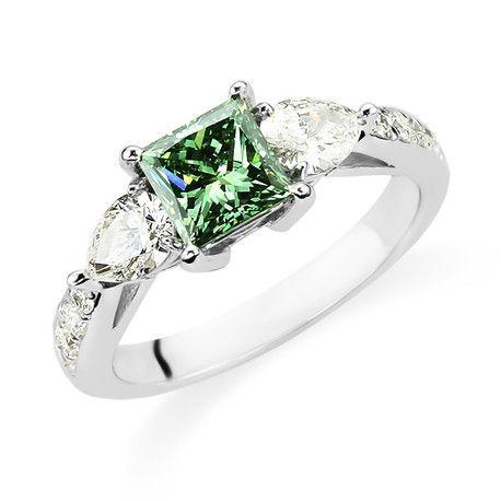 Forest Green Diamond Engagement Ring   Diamond Engagement ring   uncoventional engagement ring  Unique engagement ring   princess cut diamond    Andrews Jewelers, Buffalo NY   http://www.andrewsjewelers.com #nicetouchandrew