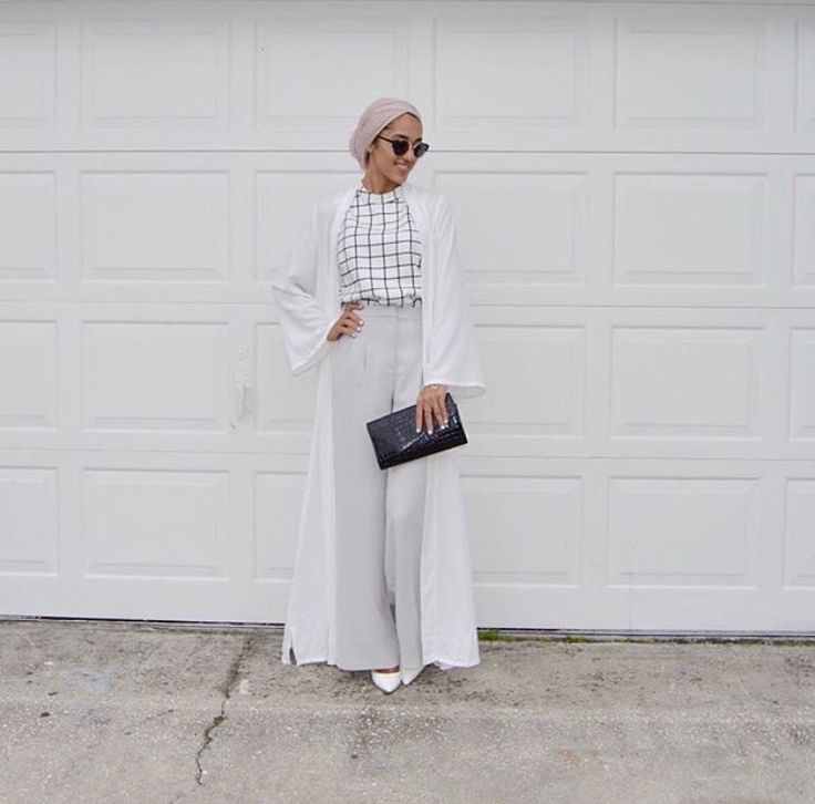 Hijab + Windowpane Check + High-Waisted Pants (sallyomo)