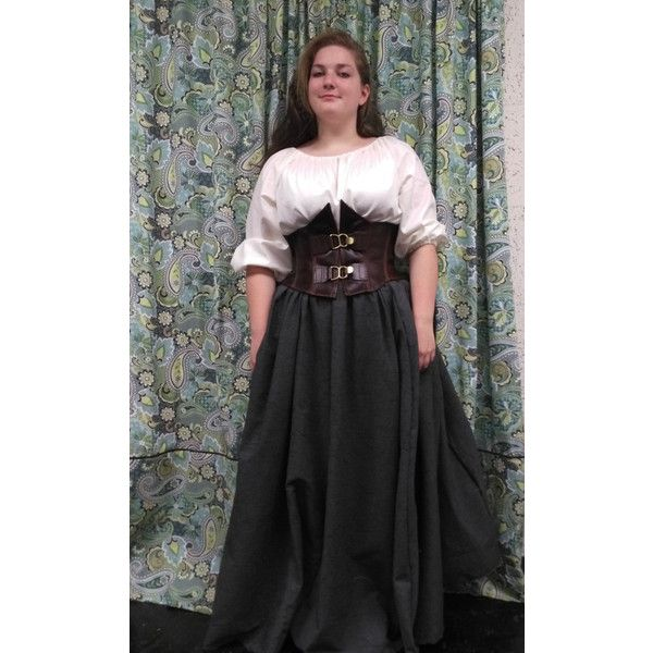Leather under the bust corset, wench, pirate, garb, reenactment,... (125 AUD) ❤ liked on Polyvore featuring costumes, renaissance costume, cosplay halloween costumes, pirate halloween costume, renaissance pirate costume and wench halloween costumes