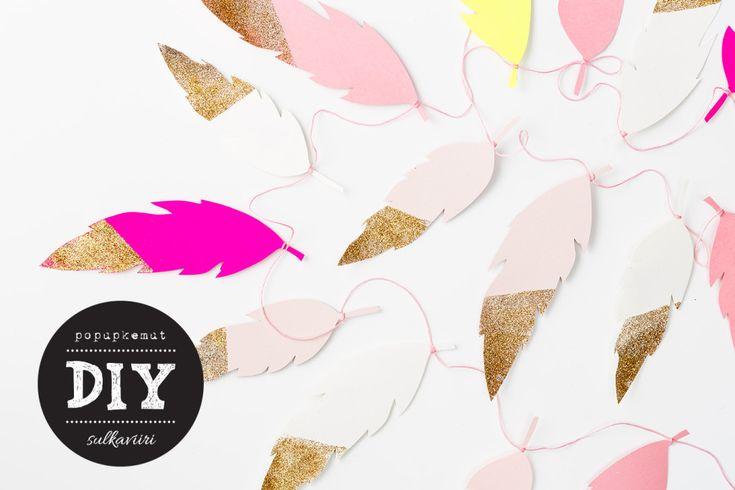 Askartele ihana sulkaviiri. Lataa ilmainen template tai tilaa valmiit tulosteet kauniissa väreissä kotiisi: http://www.popupkemut.fi/product/261/sulkaviirit