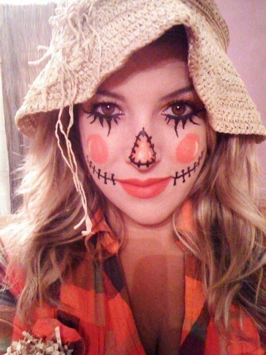 If you don't have a costume yet, you could just wear a flannel and a straw hat and the makeup like this and you can have an insta-halloween costume of a scarecrow