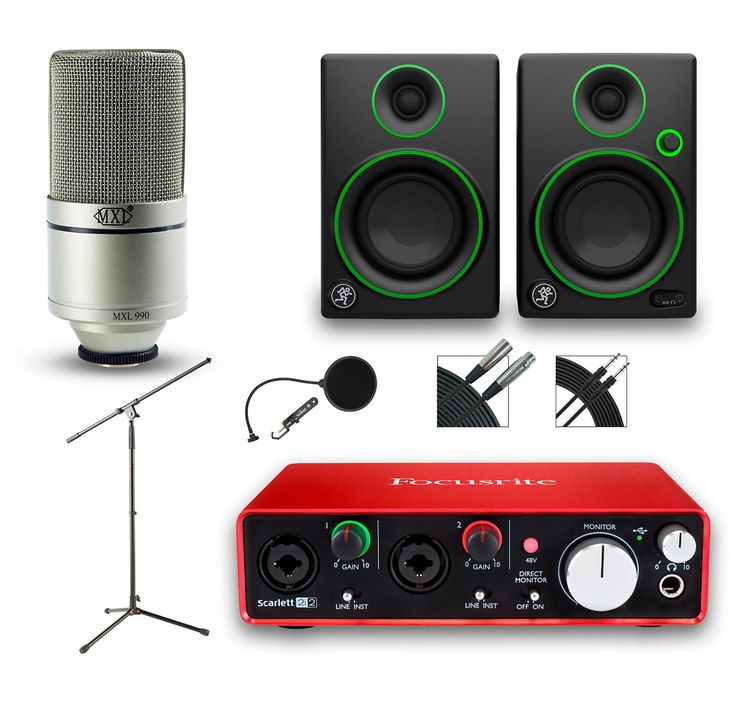 This functional recording package puts it all together for you, with a Focusrite Scarlett 2i2 (2nd Gen) audio interface, the MXL 990 studio condenser microphone, a pair of Mackie CR3 Creative Reference monitors, professional pop filter, a tripod mic stand, 30-ft. mic cable and a 15-ft. TRS cable.