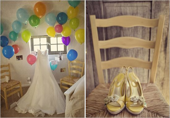 The groom surprised his lovely bride with a balloon-filled room. Each balloon lifted up a photo of the two of them over the years.
