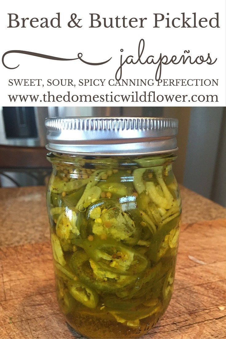 Bread & Butter Pickled Jalapeños | The Domestic Wildflower click to read this sweet sour spicy canning recipe! So good!