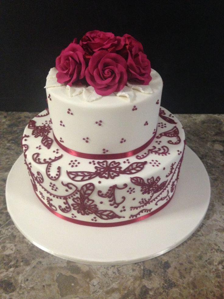 Burgundy lace wedding cake