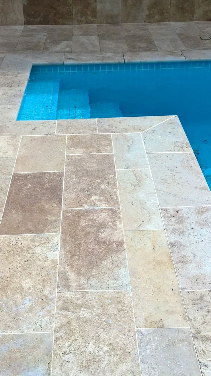 Add A Touch Of Luxury To Your Pool Surrounds With Travertine Tiles In The Colour Outdoor Ideas Travertine Pool Travertine Pool Decking Concrete Pool