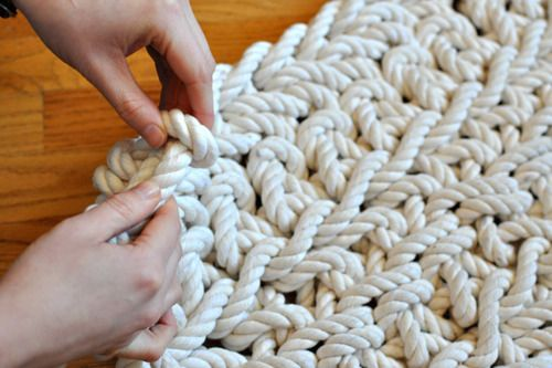sarah lynn - hand-crocheted Rope Rug using cotton rope and a double crochet pattern.