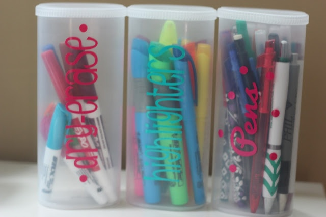 Crystal Light containers used for organizing pens, pencils, highlighters, markers, hot glue sticks... endless options! LOVE IT!