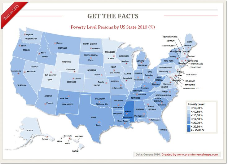 This Map shows Poverty Level Persons by US State in 2010. Data: Census - Get the Facts. US Election 2012
