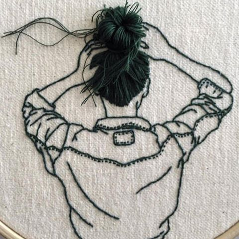 Embroidered Art | simple modern stitching of a lady with her hair up, beautiful craft work