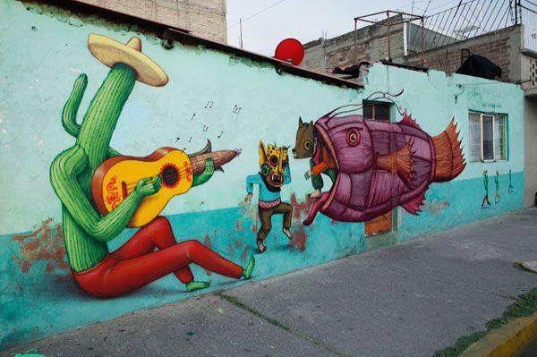 Saner X Sego X AEC Interesni Kazki in Mexico City – view more (colorful) images @ http://www.juxtapoz.com/Street-Art/saner-x-sego-x-aec-interesni-kazki-in-mexico-city# – #streetart #mexico #mashup