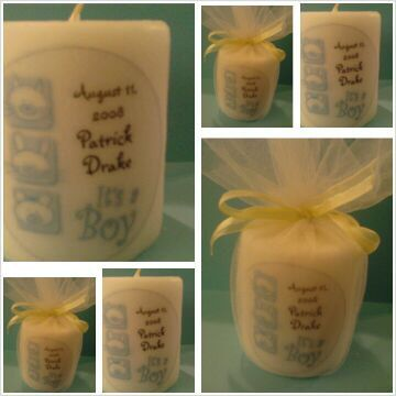 Personalized candle favors for boy baby shower, gifts for new mom, new mother gifts, mother to be, centerpiece